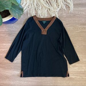 Ralph Lauren Blouse with Suede Accents